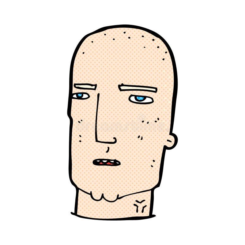 κωμικός φαλακρός σκληρός άνδρας κινούμενων σχεδίων απεικόνιση αποθεμάτων