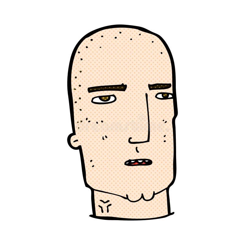 κωμικός φαλακρός σκληρός άνδρας κινούμενων σχεδίων διανυσματική απεικόνιση