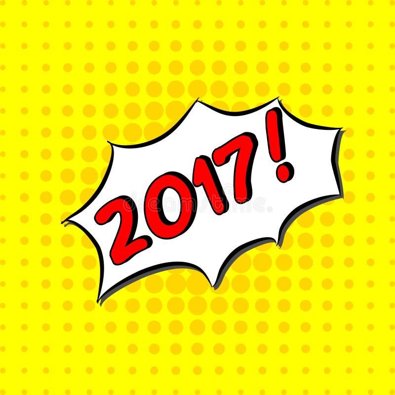 2017 - Κωμικό κείμενο, λαϊκό ύφος τέχνης Ελεύθερη handdrawn εγγραφή τυπογραφίας με το κίτρινο διαστιγμένο ημίτονο υπόβαθρο διανυσματική απεικόνιση