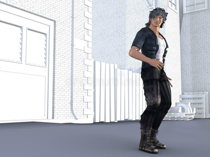 Κωμικό σκληρό άτομο ύφους που στέκεται σε μια αστική οδό ελεύθερη απεικόνιση δικαιώματος