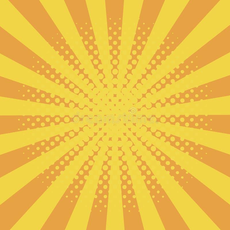 Κωμικό υπόβαθρο με τα ημίτοά στοιχεία κόμικς επίδρασης και ηλιοφάνειας με τα σημεία και sunray Κίτρινο αφηρημένο σκηνικό starburs διανυσματική απεικόνιση