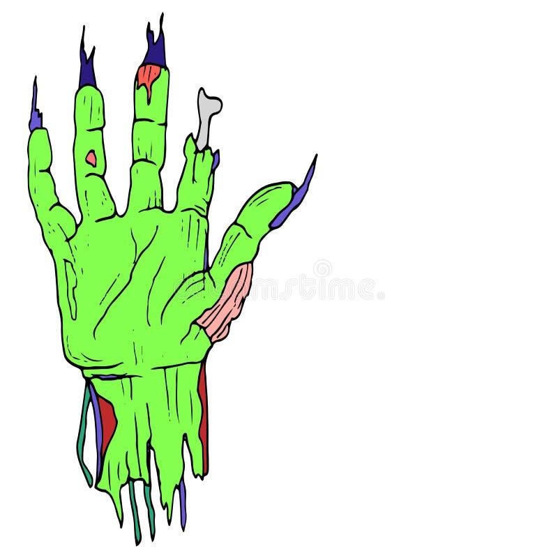 Κωμικό ύφος, που σχίζεται μακριά, χέρι κινούμενων σχεδίων zombie, παλάμη πράσινη, με το lon απεικόνιση αποθεμάτων