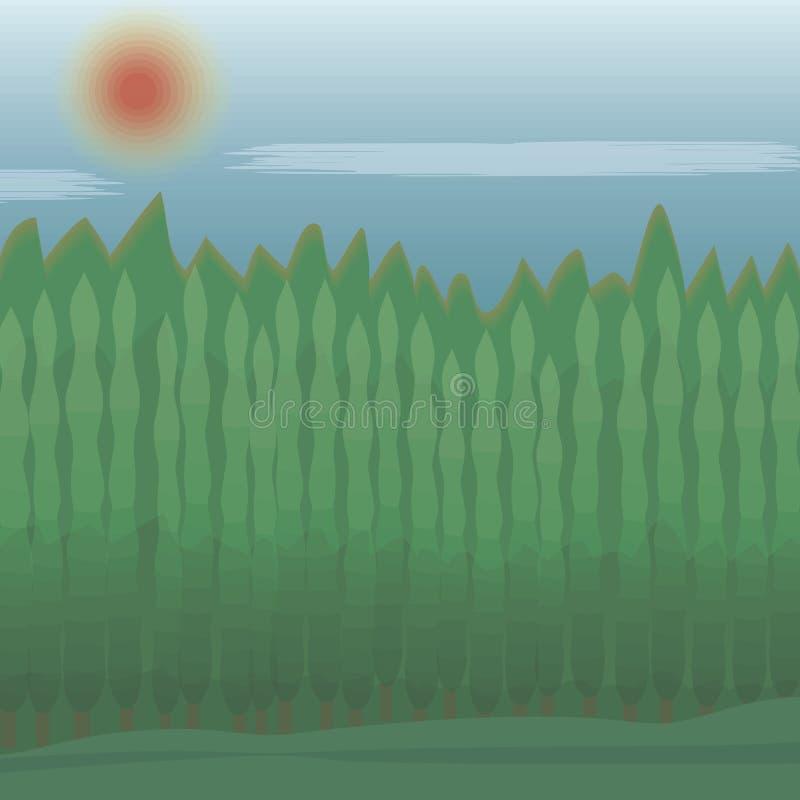 Κωνοφόρα δέντρα στη δασική φύσης πράσινη διανυσματική απεικόνιση απεικόνισης ήλιων ουρανού μπλε κόκκινη απεικόνιση αποθεμάτων
