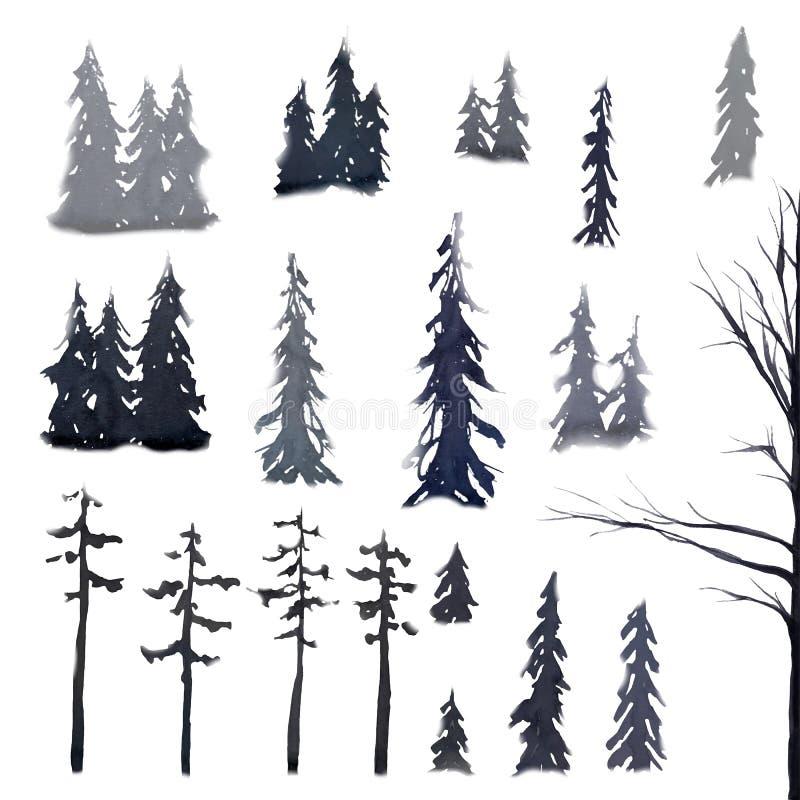 Κωνοφόρα Watercolor Τα FIR και πεύκα Βόρειος δασικός γκρίζος Σύνολο διανυσματική απεικόνιση