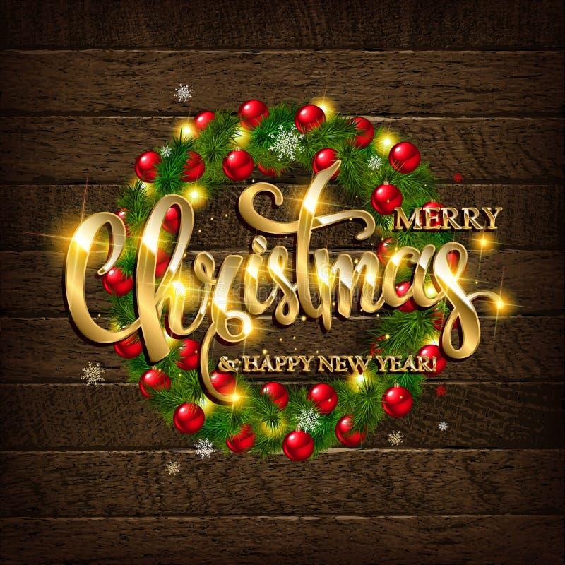 Κωνοφόρο στεφάνι Χριστουγέννων σε ένα ξύλινο υπόβαθρο ελεύθερη απεικόνιση δικαιώματος