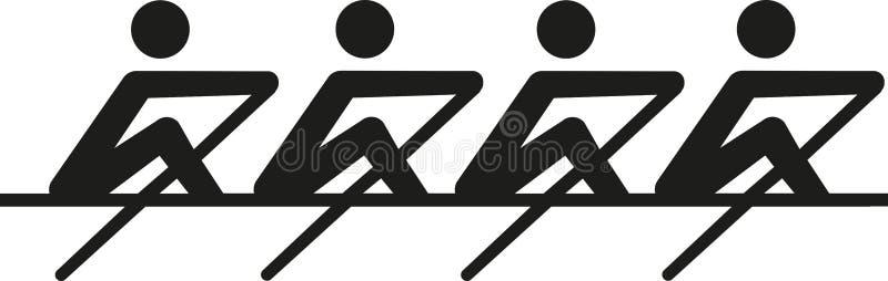 Κωπηλασία - coxeless τέσσερα απεικόνιση αποθεμάτων