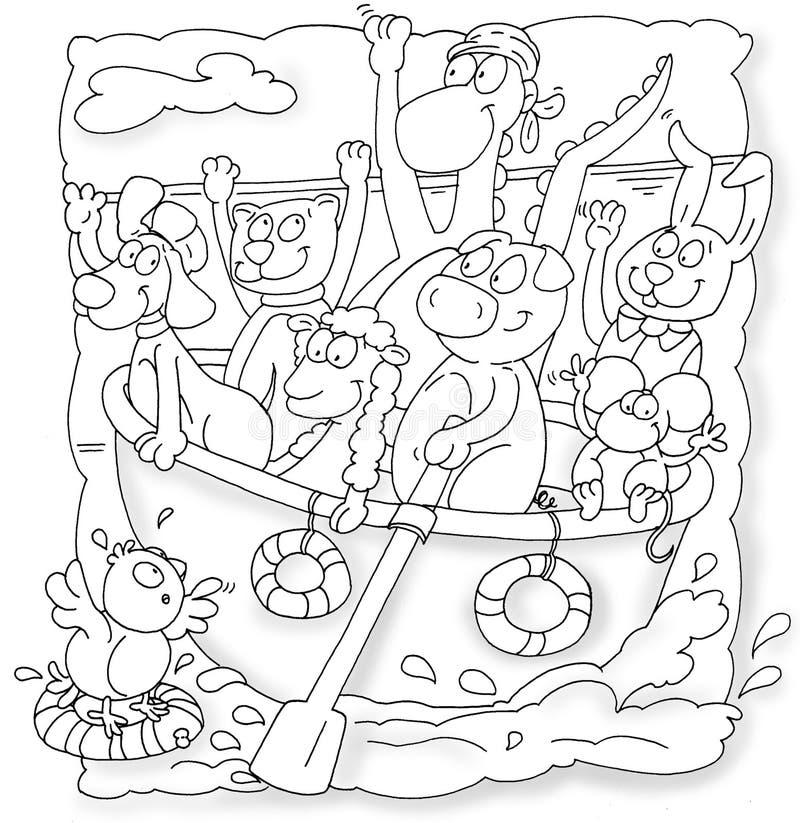 κωπηλασία της βάρκας με το χοίρο ζώων, το ποντίκι, την αίγα πουλιών lifesaver προς τα πάνω και το σκυλί διανυσματική απεικόνιση