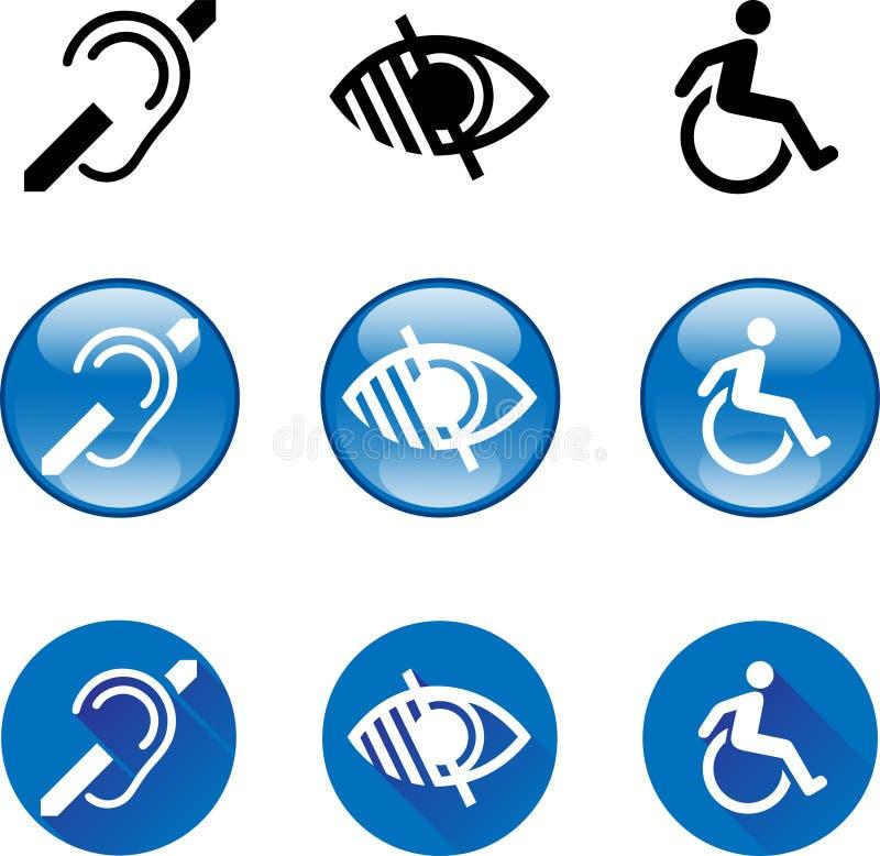 Κωφά, τυφλά, εκτός λειτουργίας σύμβολα διανυσματική απεικόνιση
