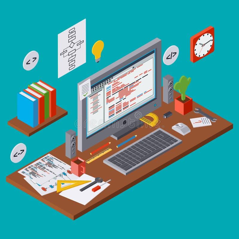 Κωδικοποίηση προγράμματος, βελτίωση αλγορίθμου SEO, διανυσματική έννοια ανάπτυξης εφαρμογών ελεύθερη απεικόνιση δικαιώματος