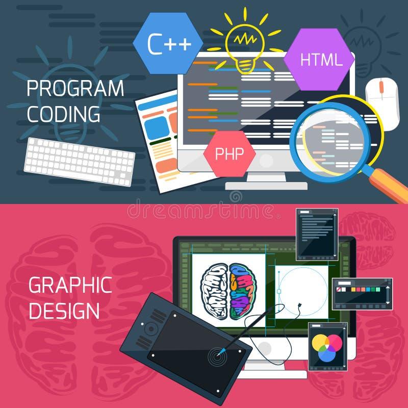 Κωδικοποίηση προγράμματος και γραφικό σχέδιο διανυσματική απεικόνιση