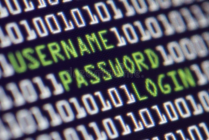 Κωδικός πρόσβασης υπολογιστών ασφάλειας στοκ εικόνα