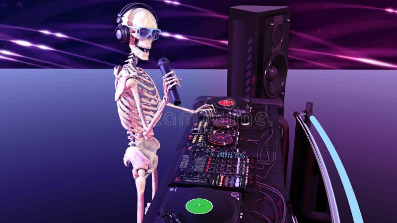 Κόκκαλα του DJ, ανθρώπινος σκελετός με την παίζοντας μουσική μικροφώνων στις περιστροφικές πλάκες, σκελετός με jockey δίσκων τον  απεικόνιση αποθεμάτων