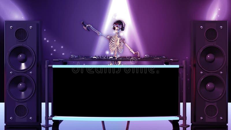 Κόκκαλα του DJ, ανθρώπινος σκελετός με το μικρόφωνο και παίζοντας μουσική καπέλων στις περιστροφικές πλάκες, σκελετός στη σκηνή μ απεικόνιση αποθεμάτων