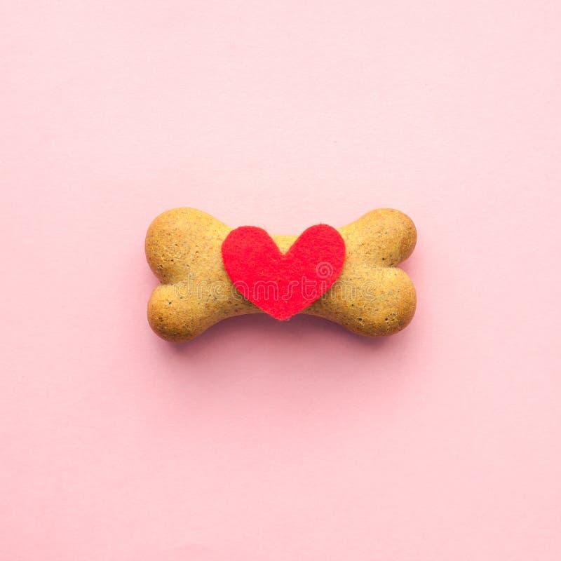 Κόκκαλο-διαμορφωμένο μπισκότο για το σκυλί και κόκκινη καρδιά στο ρόδινο υπόβαθρο, προσοχή κατοικίδιων ζώων έννοιας στοκ εικόνα με δικαίωμα ελεύθερης χρήσης