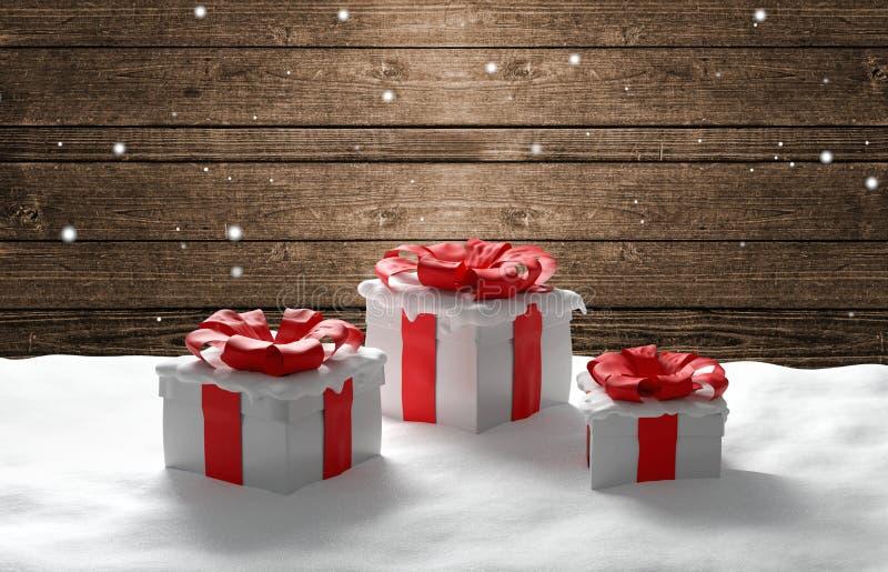 Κόκκινα άσπρα χριστουγεννιάτικα δώρα στο backgro τρισδιάστατος-απεικόνισης χιονιού διανυσματική απεικόνιση