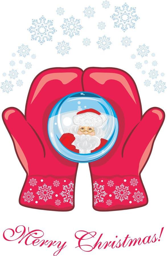 Κόκκινα γάντια με μια σφαίρα γυαλιού διάνυσμα καρτών απεικόνισης Χριστουγέννων eps10 διανυσματική απεικόνιση