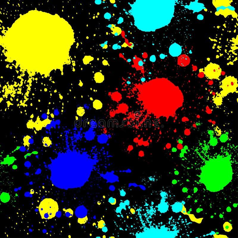 Κόκκινα γαλαζοπράσινα κίτρινα σημεία σε μια μαύρη άνευ ραφής σύσταση γκράφιτι υποβάθρου ελεύθερη απεικόνιση δικαιώματος