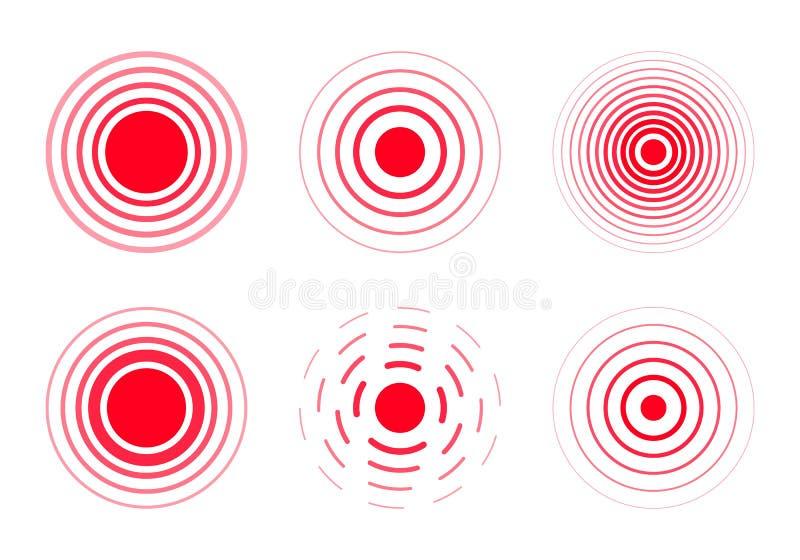 Κόκκινα δαχτυλίδια πόνου στο σημάδι απεικόνιση αποθεμάτων