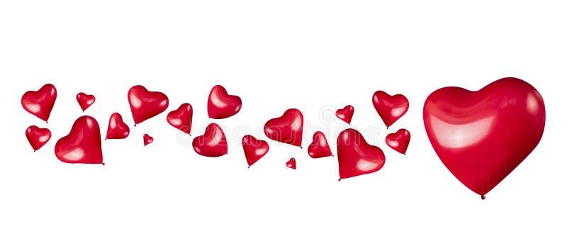 Κόκκινα διαμορφωμένα καρδιές μπαλόνια στο άσπρο υπόβαθρο, που απομονώνεται στοκ φωτογραφία