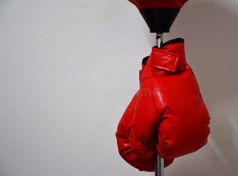 Κόκκινα εγκιβωτίζοντας γάντια που κρεμούν punching στον πόλο σφαιρών στο συμπαγή τοίχο στοκ φωτογραφία με δικαίωμα ελεύθερης χρήσης