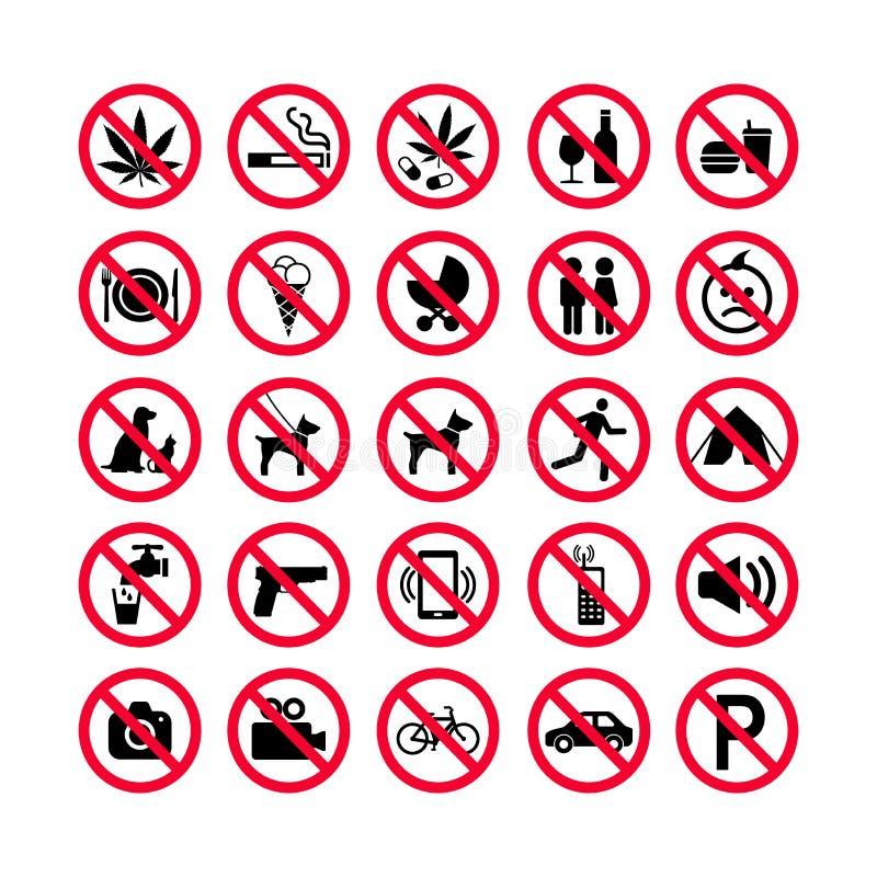 Κόκκινα εικονίδια απαγόρευσης καθορισμένα Σημάδια απαγόρευσης Απαγορευμένα εικονίδια σημαδιών διανυσματική απεικόνιση