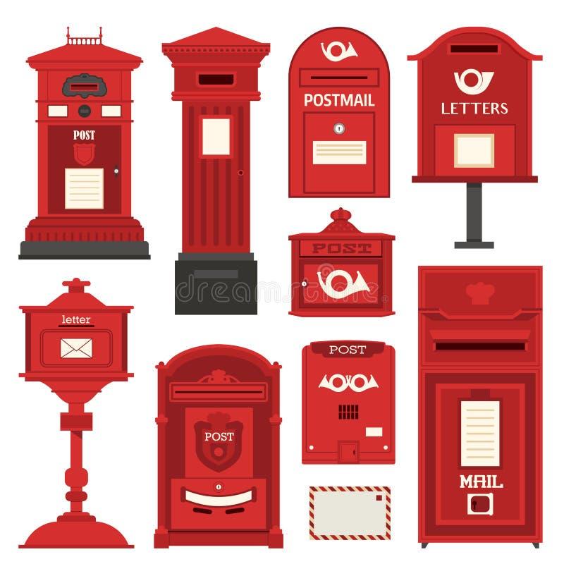 Κόκκινα εικονίδια ταχυδρομικών κουτιών και κιβωτίων επιστολών ελεύθερη απεικόνιση δικαιώματος