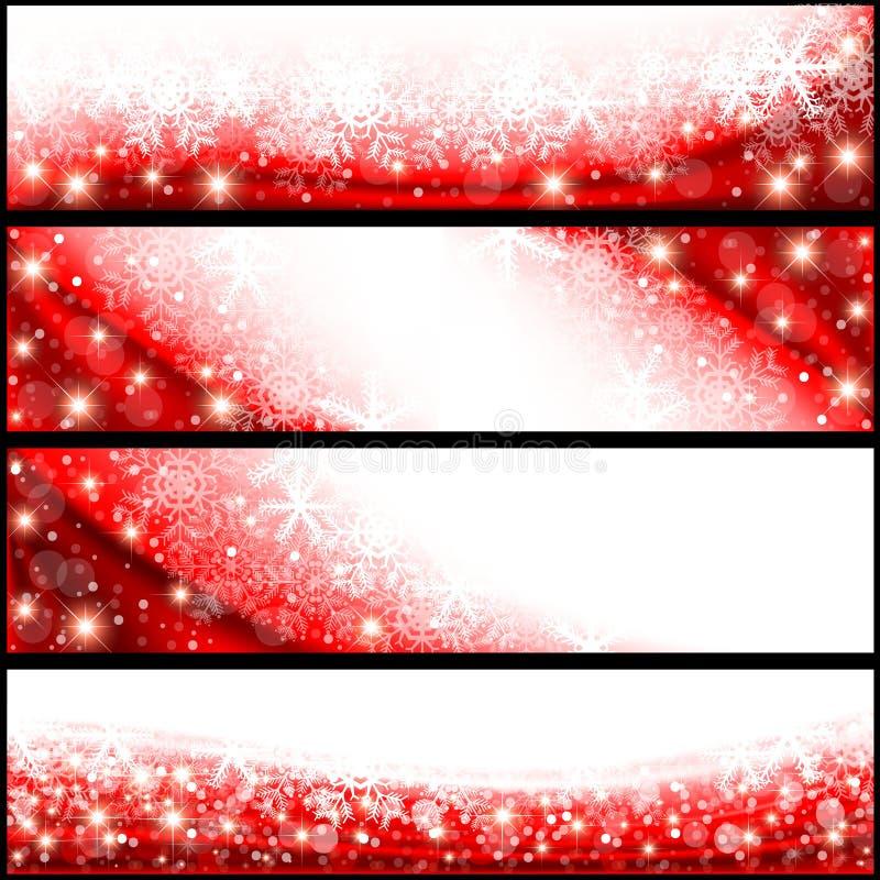 Κόκκινα εμβλήματα Χριστουγέννων διανυσματική απεικόνιση