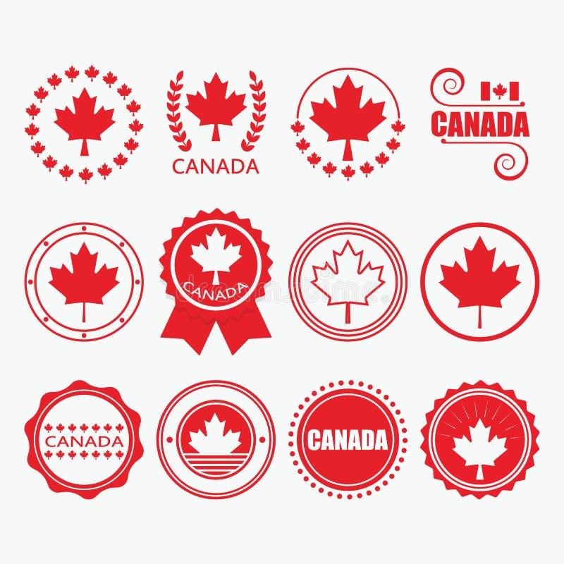 Κόκκινα εμβλήματα σημαιών του Καναδά, γραμματόσημα και στοιχεία σχεδίου καθορισμένα απεικόνιση αποθεμάτων