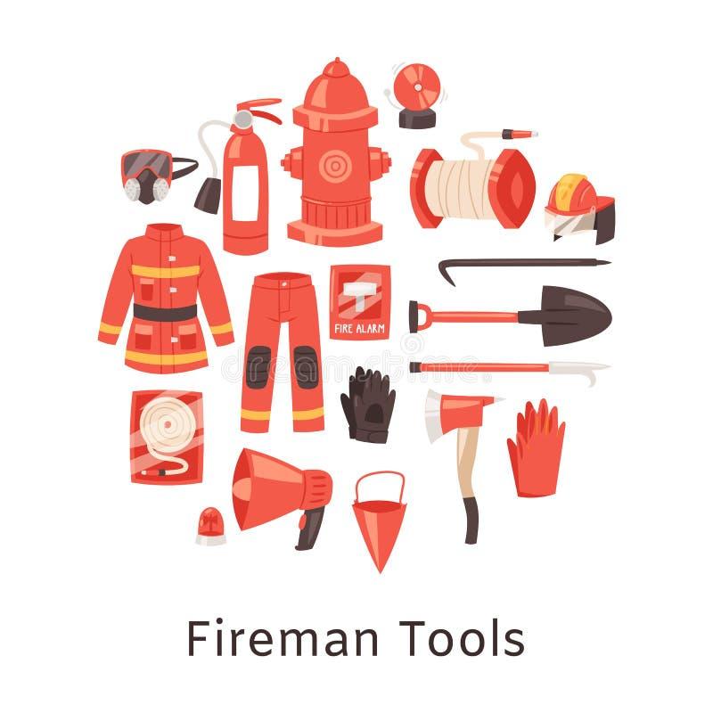 Κόκκινα εργαλεία πυροσβεστήρων και πυροσβεστών, ομοιόμορφος και εξοπλισμός για την πάλη φλογών Amunition πυροσβεστικών σταθμών ελεύθερη απεικόνιση δικαιώματος