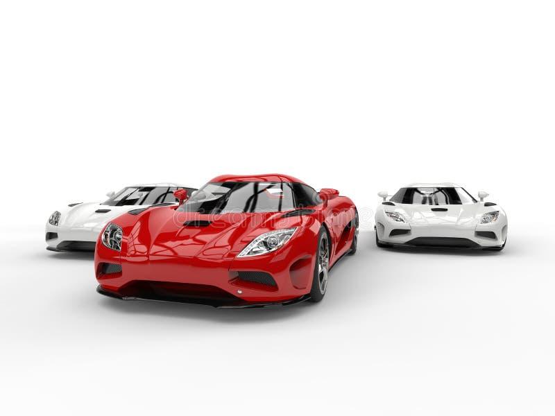 Κόκκινα και άσπρα έξοχα αυτοκίνητα αθλητικής έννοιας απεικόνιση αποθεμάτων