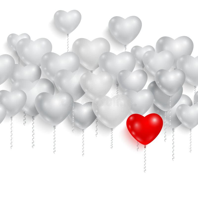 Κόκκινα και άσπρα μπαλόνια συμβαλλόμενων μερών 05 απεικόνιση αποθεμάτων
