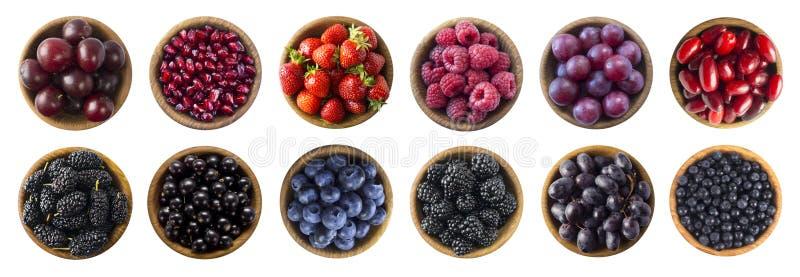 Κόκκινα και μαύρος-μπλε τρόφιμα Σμέουρο, φράουλα, σταφίδα, βακκίνιο, δαμάσκηνο, σταφύλι, ρόδι, μουριά, μύρτιλλο και βατόμουρο στοκ φωτογραφία