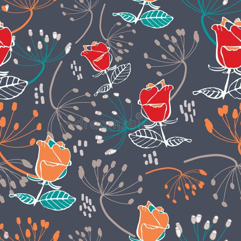 Κόκκινα και πορτοκαλιά τριαντάφυλλα με τους μπεζ και πορτοκαλιούς σπόρους στο γκρίζο άνευ ραφής σχέδιο υποβάθρου ελεύθερη απεικόνιση δικαιώματος