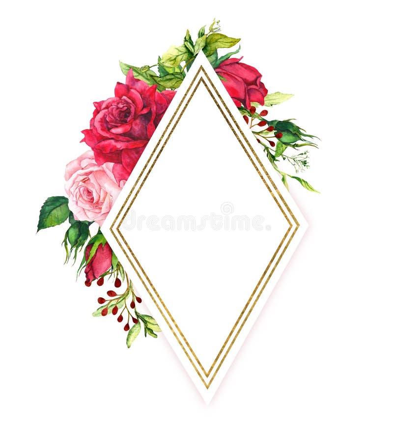 Κόκκινα και ρόδινα τριαντάφυλλα με την πράσινη χλόη άνοιξη, χρυσά σύνορα Πλαίσιο Watercolor με τα λουλούδια, τα χορτάρια λιβαδιών διανυσματική απεικόνιση