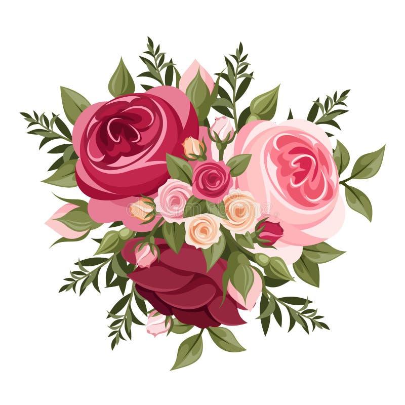 Κόκκινα και ρόδινα τριαντάφυλλα επίσης corel σύρετε το διάνυσμα απεικόνισης απεικόνιση αποθεμάτων