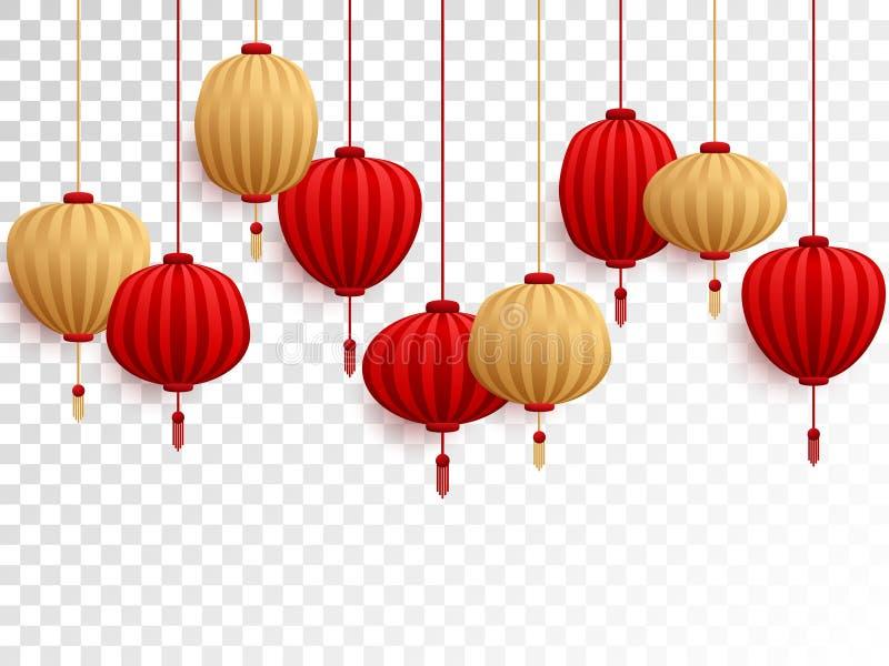 Κόκκινα και χρυσά κινεζικά φανάρια σε διαφανή απεικόνιση αποθεμάτων