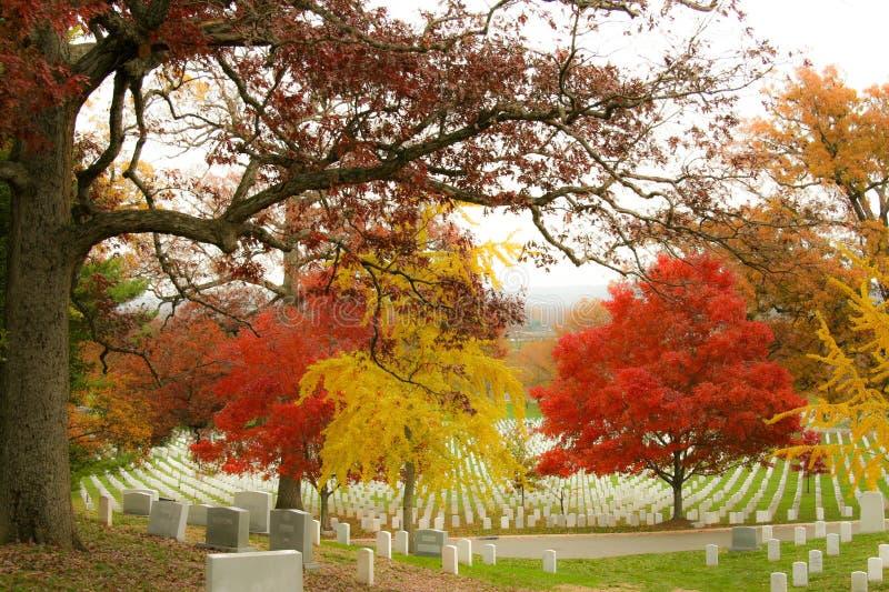 Κόκκινα και χρυσά χρώματα πτώσης στο νεκροταφείο του Άρλινγκτον στοκ φωτογραφία με δικαίωμα ελεύθερης χρήσης