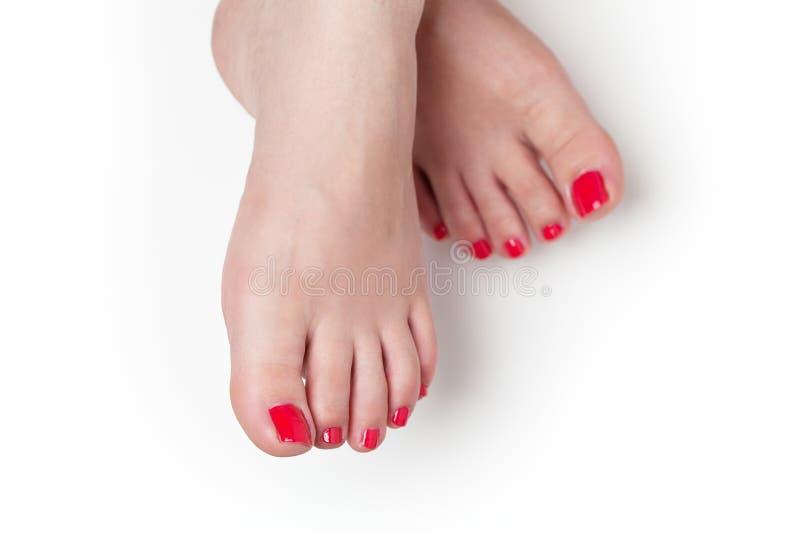 Κόκκινα καρφιά μετά από το pedicure στοκ φωτογραφίες με δικαίωμα ελεύθερης χρήσης