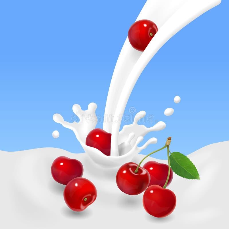 Κόκκινα κεράσια που περιέρχονται στο γαλακτώδες παφλασμό ή το γιαούρτι επίσης corel σύρετε το διάνυσμα απεικόνισης διανυσματική απεικόνιση