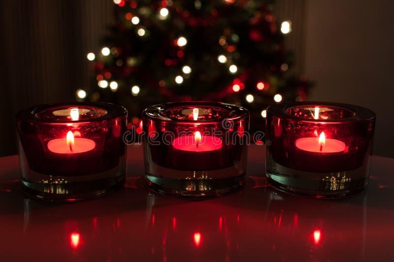 Κόκκινα κεριά Χριστουγέννων στοκ φωτογραφία με δικαίωμα ελεύθερης χρήσης