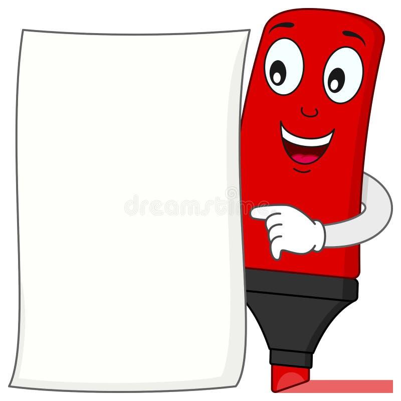 Κόκκινα κινούμενα σχέδια Highlighter με το κενό έγγραφο απεικόνιση αποθεμάτων