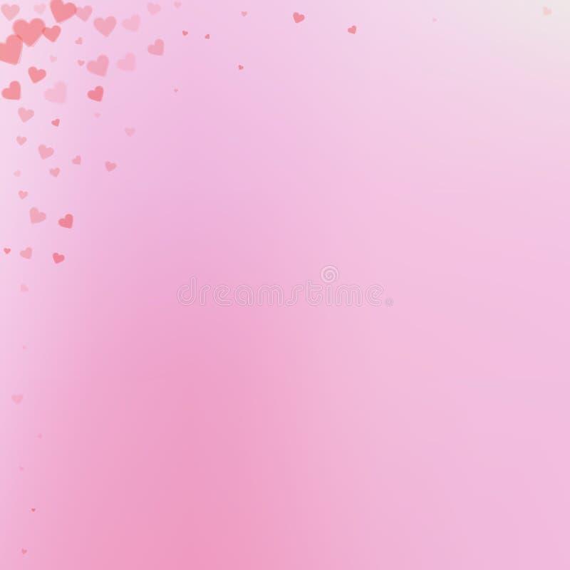Κόκκινα κομφετί αγάπης καρδιών Γωνία π ημέρας βαλεντίνου διανυσματική απεικόνιση