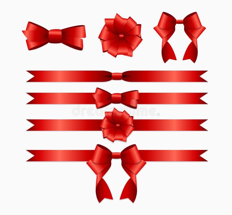Κόκκινα κορδέλλα και τόξο που τίθενται για το κιβώτιο δώρων Χριστουγέννων γενεθλίων πραγματικός απεικόνιση αποθεμάτων