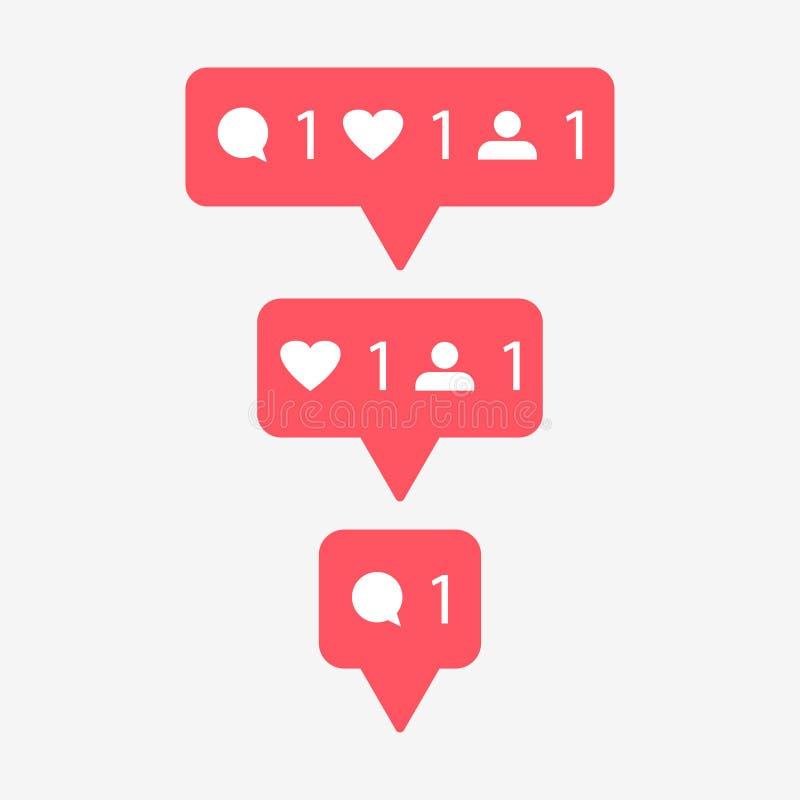 Κόκκινα κουμπιά καρδιών και ομιλίας Μετρητής στα κοινωνικά μέσα σε ένα γκρίζο υπόβαθρο επίσης corel σύρετε το διάνυσμα απεικόνιση ελεύθερη απεικόνιση δικαιώματος