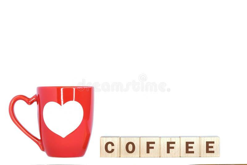κόκκινα κούπα και κείμενο καφέ στοκ εικόνες