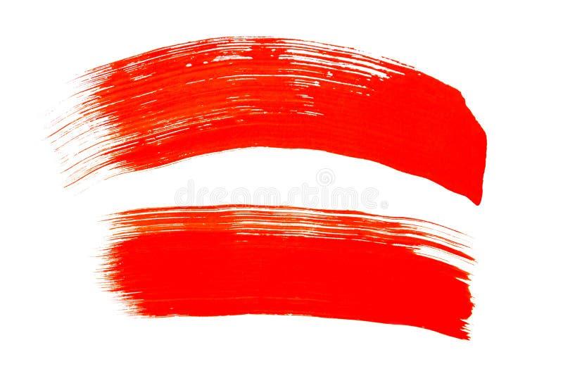 Κόκκινα κτυπήματα βουρτσών που απομονώνονται στο άσπρο υπόβαθρο Κόκκινο αφηρημένο κτύπημα Ζωηρόχρωμο κτύπημα βουρτσών watercolor στοκ εικόνα