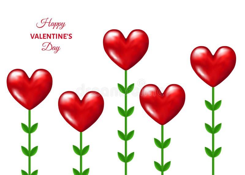 Κόκκινα λουλούδια με μορφή των καρδιών με τα πράσινα φύλλα διανυσματική απεικόνιση