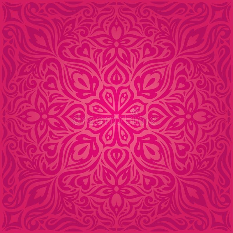 Κόκκινα λουλούδια, πανέμορφο διακοσμητικό Floral σχέδιο mandala υποβάθρου μόδας διανυσματική απεικόνιση