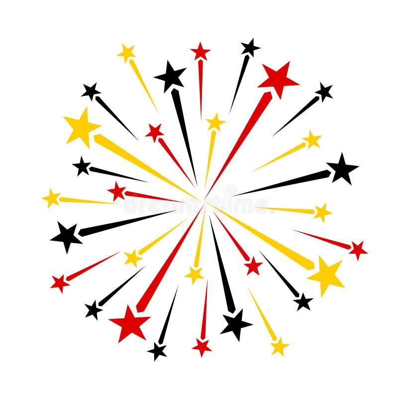 Κόκκινα μαύρα κίτρινα χρυσά πυροτεχνήματα ελεύθερη απεικόνιση δικαιώματος