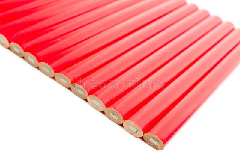 Κόκκινα μολύβια ξυλουργών στοκ εικόνες